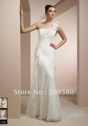 Cheap one-shoulder ivory handmade flowers bridal wedding dresses/wear organza court train W351(China (Mainland))