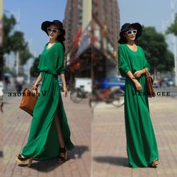 2014 fashion Loose plus size chiffon dress ultra long maxi dress beach dress