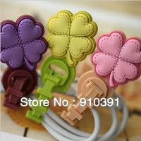 Free shipping DIY cord holder winder silicone flower grass cable twister as bundling belt for wire MP3MP4MP5 data line.