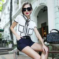 Kksugar women's fashion black and white color block british style chiffon shirt top 829