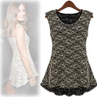 Orangeflowe2013 spring cutout lace chiffon shirt sleeveless top female basic shirt