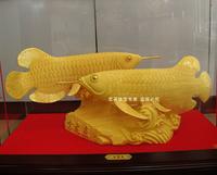 Golden dragon fish business gift oversize lucky jinlong fish alluvial gold velvet decoration crafts scrapbooking  lucky coins