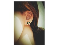 Girls emerald crystal bow earrings, hot sale, free delivery
