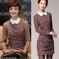 2013 spring new Sun Li the small lapel dress with stylish retro print color sub long-sleeved dressesW9953W9953