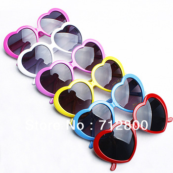 5pcs/lot Fashion Retro Funny Summer Love Heart Shape Lolita Sunglasses Sun Glasses Gift FREE SHIPPING