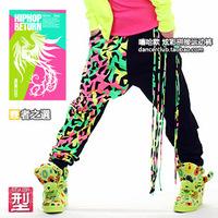 new 2014 Rock style Sportswear 2014 neon color patchwork Hip hop pants women sports pants Punk Dance harem pants joggers