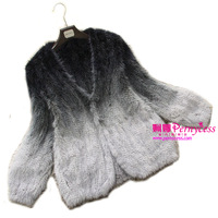 Pernycess 2013 spring mink hair hot-selling fur gradient color female knitted outerwear free shipping