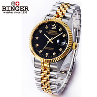 Binger accusative case watch fully-automatic mechanical watch stainless steel mens watch series 18k gold black