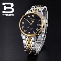 Binger accusative case watch fully-automatic mechanical watch male watch stainless steel mens watch gold black