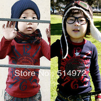 Best selling!!spring print clock boys t-shirt long sleeve baby boy blouses cotton kids clothing free shipping