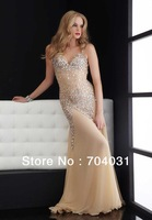 Luxurious beige Organza with heay beaded stone and sexy waist floor-length Evening Dresses