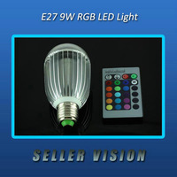 E27 9W Remote Control Color Changing LED Light Bulb RGB 100-240V 220V New