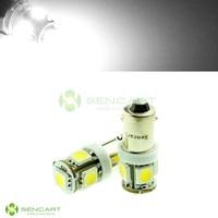 24V BA9S T4W 5 SMD 5050 LED White lights Side mark License plate Reading bulbs