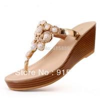 Shoes sweet rhinestone gem sandals wood grain wedges slippers clip means 118