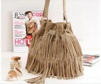 K024 fashion brief vintage tassel bucket bag drawstring bag suede goatswool women's handbag