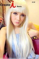 Free shipping lady gaga blonde half long straight synthetic party cos wig,65cm bang in a line daily hair.Free shipping