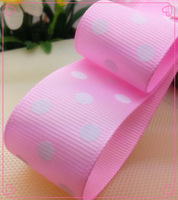 """Free shipping 1"""" (25mm) Grosgrain ribbon Polka Dots printed pink color with white dots, DIY hairbow accessories, gift package"""