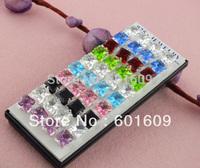 Free Shipping! Wholesale 40pcs 925 sterling silver square cz sturd earrings 8mm TE015