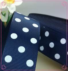 "Free shipping 1"" (25mm) Grosgrain ribbon Polka Dots printed navy blue with white dots, DIY hairbow accessories, gift package(China (Mainland))"