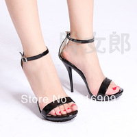Black one piece 12 ol shoes cd plus size sexy high-heeled sandals shoes 35 - 42C592