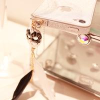 Baroque feather mask dust plug tassel rhinestone dust plug 4 , 4s , general 5 3.5mm earphones hole
