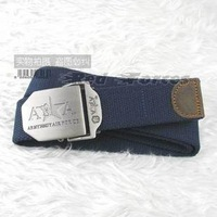Outdoor tactical belt wear-resistant thickening canvas belt Dark Blue 320 red
