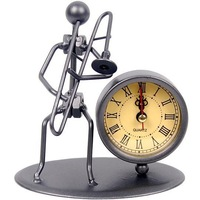 Metal technology clocks wrought iron clock desktop clock silent watch homer decor Free shippig C02-TROMBONE