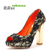 13 springsexy lace women&#39;s ultra high heels  open toe shoe thick high-heeled single shoes