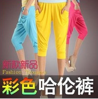 2443 Korea edition fashion color haroun pants, candy color leisure calf-length pants 5pcs/lot free shipping