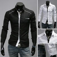 Free Shipping New Men Casual Slim Stylish Hot Dress Shirts Welt Collision Color Shirt Color Black White US Size S M L XL