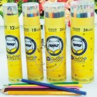 Free Shipping Stationery Wooden Colored Pencils, Drawing pencils, 12 / 18 / 24 colors pcs / Barrel (6 Barrels/Lot)
