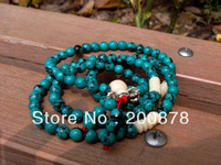 BRO623  Tibetan 108 beads Green Turquoise Meditation Prayer Beads Mala,6mm,sweet girls bracelet