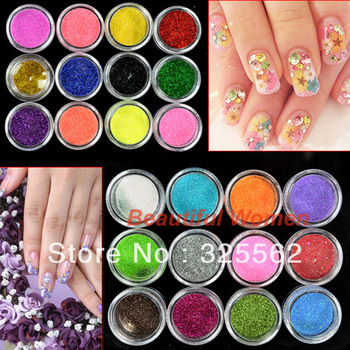 Free Shipping New Arrival 24 Colors Metal Shiny Acrylic Nail Powder Glitter Dust Kit UV Stamp Art Tool 3069 3F