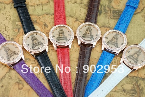 200pcs/ lot Popular Men/Women/Girl Unisex WristWatch diamond Iron tower leather watches round dial quartz watch free shipping(China (Mainland))
