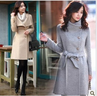 2012 autumn and winter women stand collar single breasted medium-long wool coat Lady Fashion outerwear Free Shipping