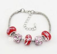 Hot 6pcs Wholesale lot  Bohemia handmade Fashion lampwork murano Glass beads European charms snake Chain Bracelet bangle jewelry