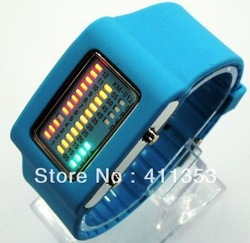 Drop shipping Fashion Binary Digital Watch /Jelly Silicon Casual Sport Wrist Watches Free Shipping best price only one and gift(China (Mainland))