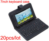 "DHL Free Shipping USB Keyboard Leather Cover Case Bag for 7"" Tablet PC MID PDA 20Pcs and 7inch Screen Protector For Gift"