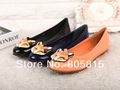 2013 Spring Newest Women Single Shoes,Fox Head Shallow Mouth Flat Casual Shoes,Slip-On Cow Patent Leather Black Blue Pink