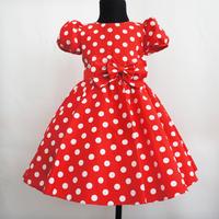 Girls clothing dress princess dress wedding dress big bow dot 100% 791 cotton one-piece dress free shipping