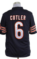 #6 Jay Cutler Men's Game Team Navy Football Jersey