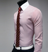 2013 New Arrived Elegant Stripe Fashionable White Collar Slim Stripe Casual Long Sleeve Shirt 2 Color 4 Size SL13032513