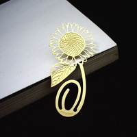 Wedding Favor - 50pcs Sunflower Lucky Metal Bookmarks Card Packaging