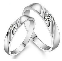 GS brand JZ-26 925 stamp silver + platinum plated + AAA high quality lover`s rings jewelry free shipping