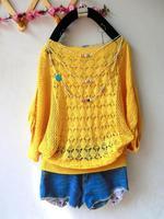 Korean women hollow bat sleeve collar short-sleeved sweater women's sweaters