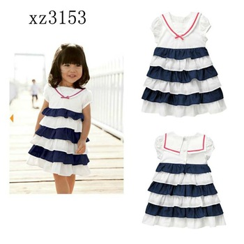 Hot sale 5pcs/lot new fashion designer 2013 children girls blue and white summer dress kids princess dresses free shipping