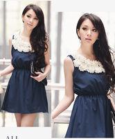 New Summer fashion lace Flower collar Chiffon ladies dress wholesale free shipping WM015