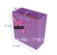 fatory wholesale thicken customized purple with pattern paper gift bag small /free shipping 100pcs/lot
