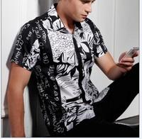 2013 new man cotton luxury shirts for men designer slim fit men's fashion  brand Shirts beach Floral print shirt  S-3XXL
