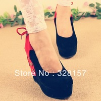 free ship,2013 spring sexy demale single shoes wedges high-heeled shoes platform women's shoes rivet round toe scrub pumps shoes